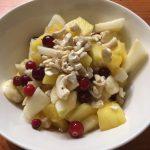 Cranberries in fruit salad