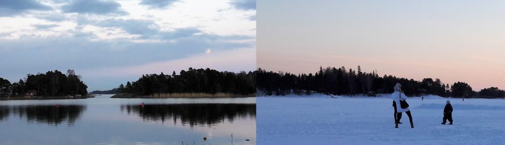 Rantaraitti in Espoo Matinkylä during summer and winter