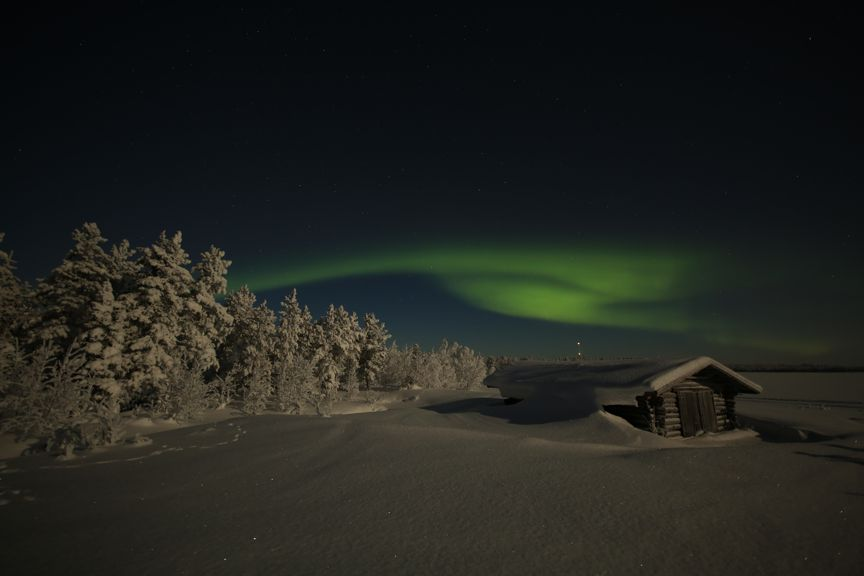 Northern Lights aurora borealis Finland, Suomi. Snow. Lumi.
