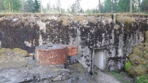A fortified concrete bunker and machine gun posts in Luumäki, Finland.
