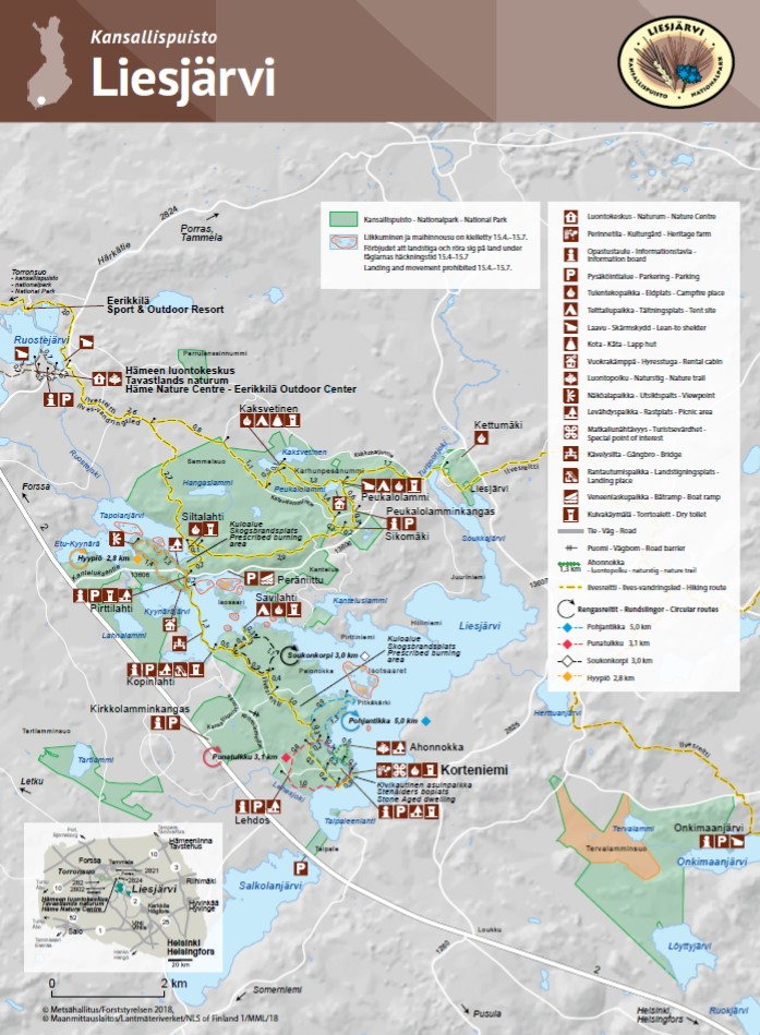 Liesjärvi National Park map