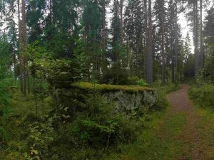 walking path to Korsvik rock church