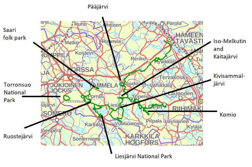 Hämeen Ilvesreitti map