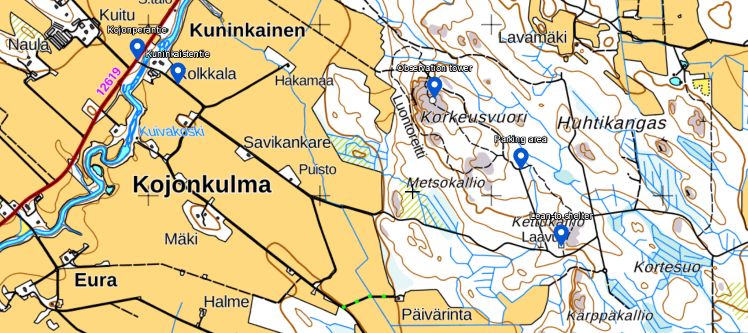 Map to Korkeusvuori small