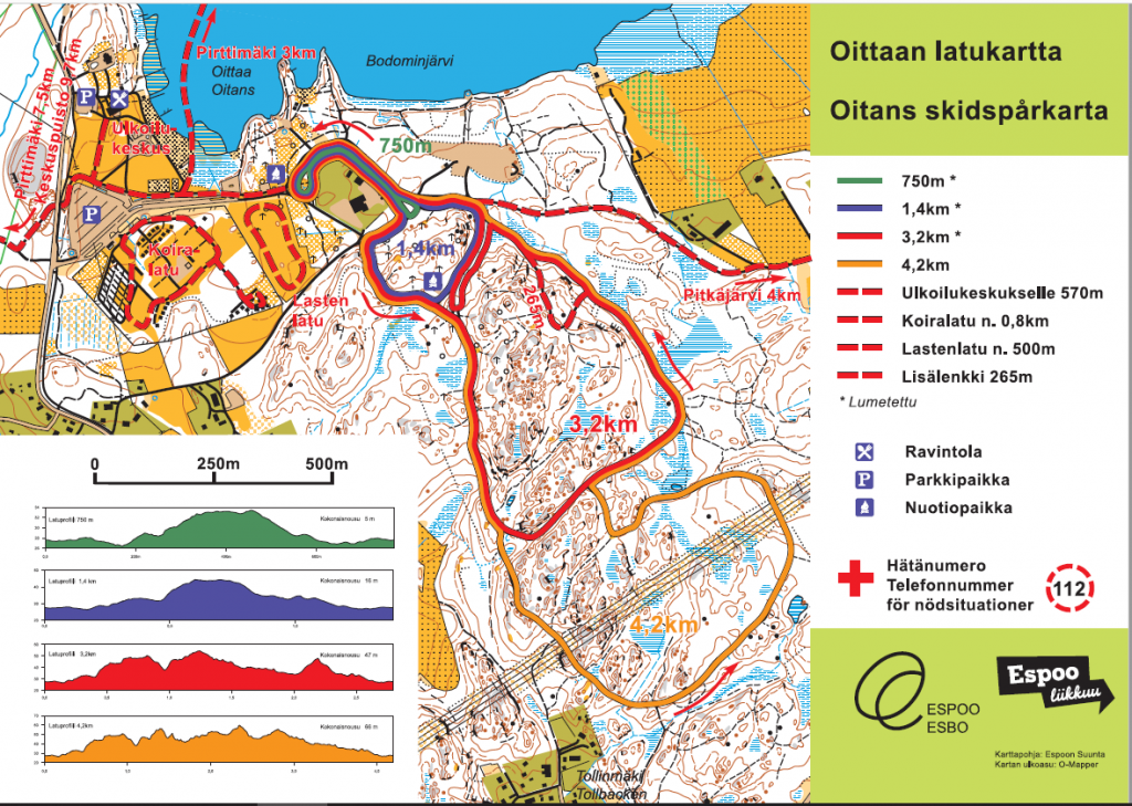 Map of Oittaa tracks. Trails of Oittaa during winter (skiing) and summer (walking and trail running).