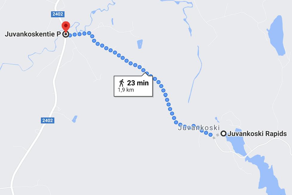 Map to Juvankoski from Pöytiö village