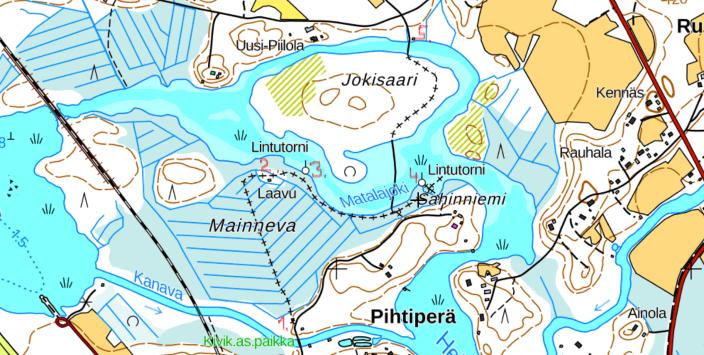 Map of Heinäjoki nature trail in Pihtipudas