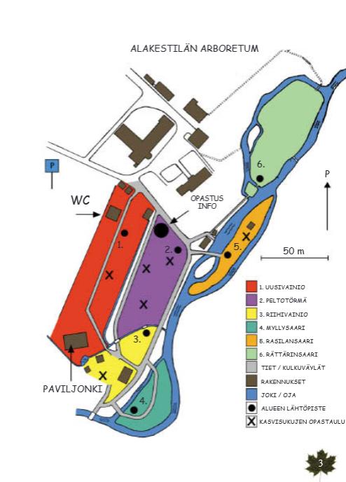Map oaf Alakestilä Arboretum