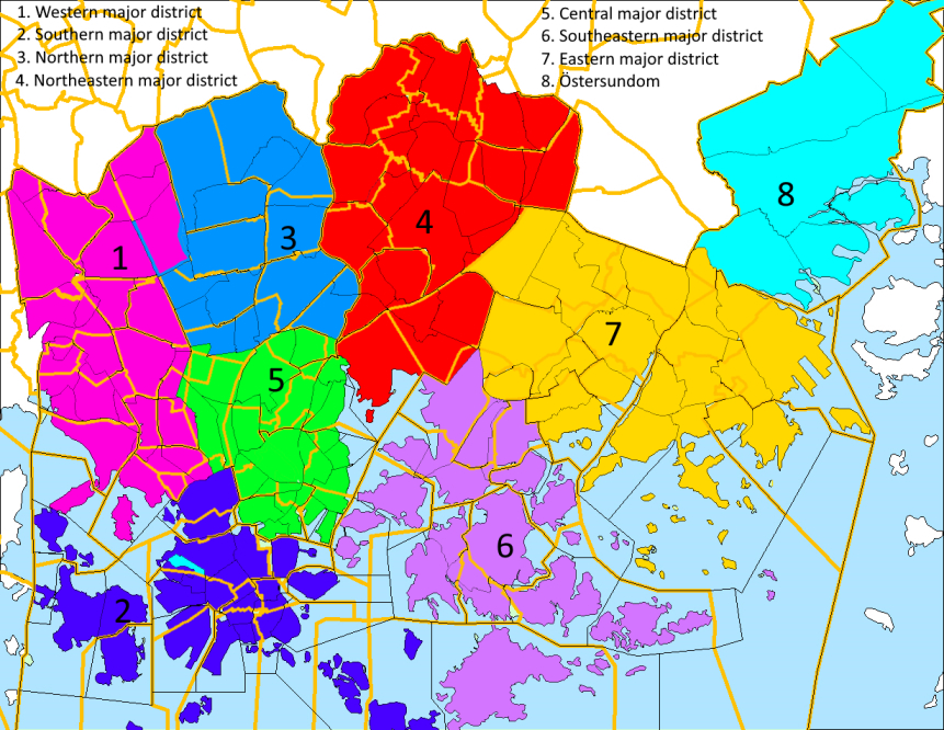 Helsingin suurpiirit. Helsinki major districts.