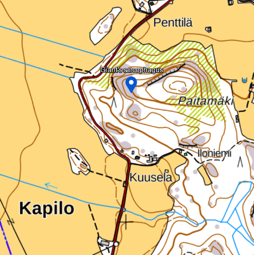 Map of giant's sarcophagus in Tammela